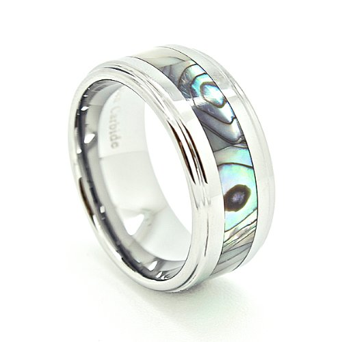 10mm Tungsten Carbide with Abalone Shell Inlay Wedding Band (Available Sizes N 1/2 - Z+5)