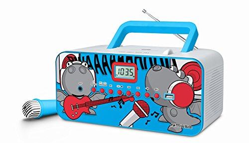 Muse M-29 KDB Kinder CD Player mit Mikrofon und Sing-A-Long Karaoke Funktion (CD / MP3, USB, AUX-In, LCD-Display, Teleskopantenne), blau (Sing A Long Cd-mp3-player)
