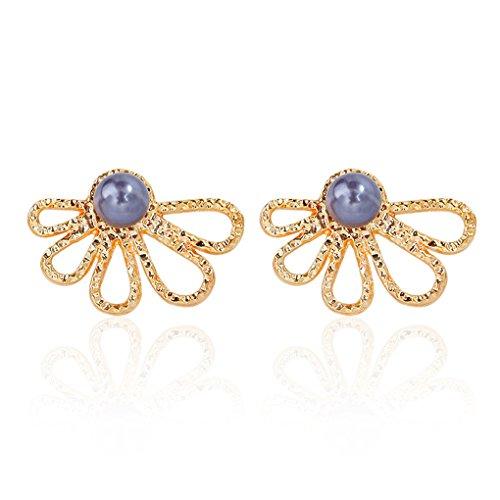 Lidahaotin 1 Pair Women Girls Hollow Flower Earrings Women Round Pearl Beads Pusk-back Earrings Jewelry