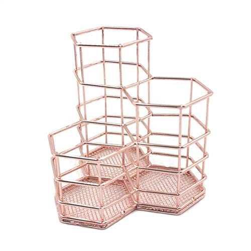 AOLVO Metall Stifthalter, Hohl Stiftehalter Stifteorganisator Make-up-Pinsel Vase Pot Box Case Schreibtisch aufbewahrung Büro Tisch Organizer Container, 3 Stück (Rose Gold)