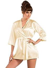 Beautiful Cream Classic Block Colour Short Dressing Gown Peignoir Robe Medium (Up 10-12)