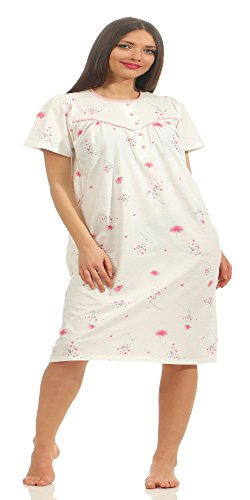 Normann Damen Nachthemd kurzarm klassisch mit Knopfleiste am Hals 211 90 310, Farbe:rosa;Größe:52/54