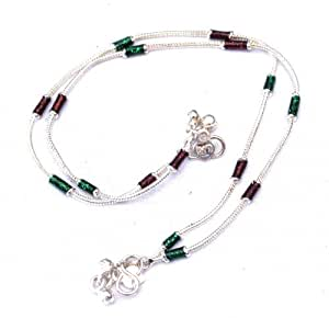 Pure Sentiments Trendy Indo Western Silver colored Designer Payal Traditional Indian Anklet Brown & Green Beads _PS126