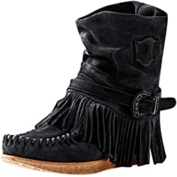 POLP Botas de Mujer Bota Martin Botines Invierno Mujer Botines Mujer Invierno Botas cómodas Zapatos Mujer Botas Martin Botas de Flecos Zapatos Planos Botines con Cordones (Negro, EU:38)
