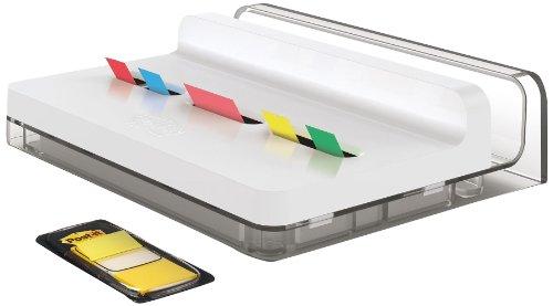 Post-it SLIM680 Index Spender Slim Stand, gefüllt, 3 Spender, 240 Haftstreifen, weiß/transparent