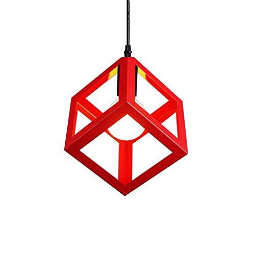 ZAOFAN Lustre Suspension Lampe Couleur Square Moderne Art fer Métal Simple Abat Jour LED Luminaire Applique chambre enfants Bar Restaurant Étude , red , 23cm