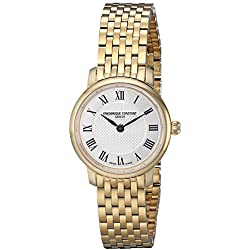 Frederique Constant Ultra Slim FC200MCS5B 25mm Stainless Steel Case Yellow Gold Plated Stainless Steel Anti-Reflective Sapphire Women's Watch