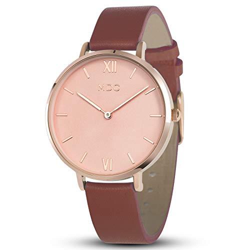 MDC Damen Uhr Rosegold Armbanduhr Frauen Uhren Lederarmband Damenuhr Braun Ultra Dünn