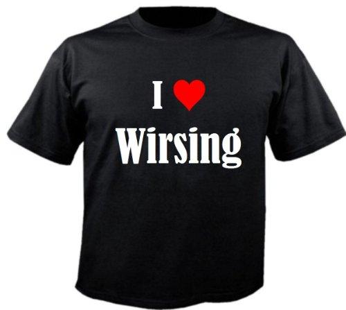 Damen T-Shirt I Love Wirsing Größe XL Farbe Schwarz Druck Weiss