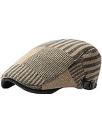 1cc0ea48457b5 JYR moda rayas lana golf boina plana Cap Inglaterra Vintage adelante  sombreros visera Caps