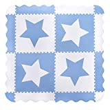 4 Large White Interlocking Foam Baby Play Mat with Blue Stars Tiles - Play Mats with Edges. Each Tile 60 x 60cms. Total 1.5m2.