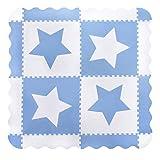 Große, weiß, ineinandergreifende Babyspielmatte aus Schaum mit sternen blau – Spielmatten mit Kanten. Jede Fliese 60 x 60 cm. Insgesamt 1,5m2