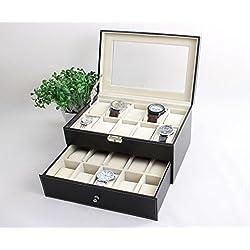 Leder Uhrenkoffer für 20 Uhren Uhrenbox Schaukasten Uhrenkasten Uhrenvitrine Uhrenschatulle