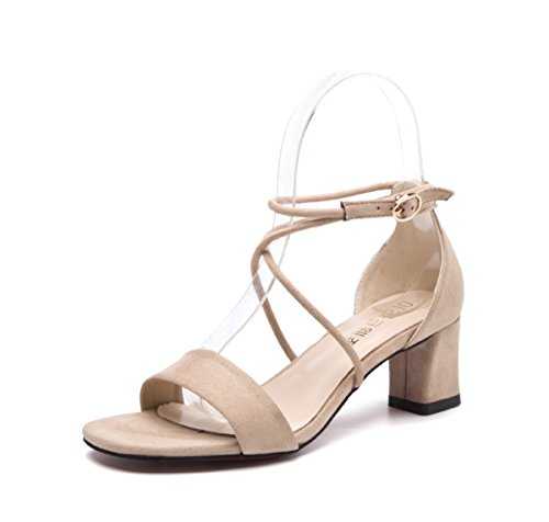 Damen Sandalen Blockabsatz Schnnre Einfache Schick Bequem Atmungsaktive Peep-Toe Leicht Schnalle Rutschfest Pantolette Aprikose