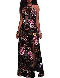 TianBin Vestido Largo Floral Print Casual Verano para Noche Sin Hombro Cuello Fiesta Playa