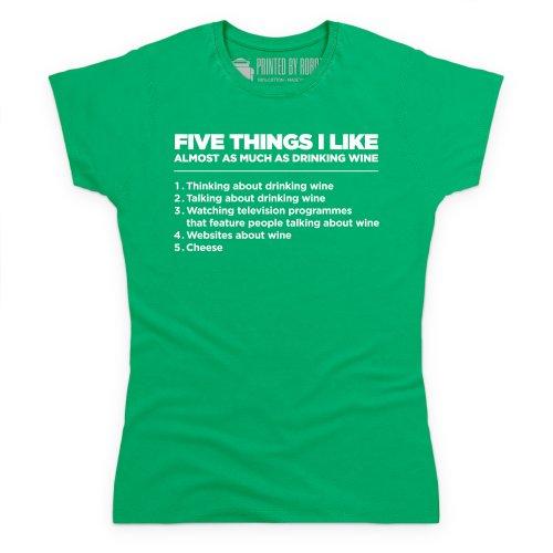 Five Things I Like - Wine T-Shirt, Damen Keltisch-Grn