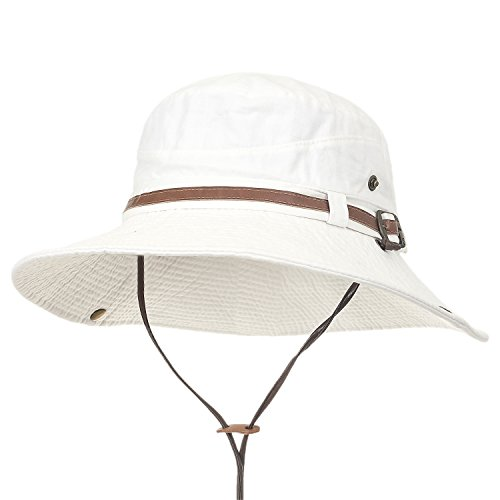8d3d808446b1de ililily Washed Cotton Vintage Hunting Fishing Camping Outdoor Boonie Bucket  Hat, White, Medium