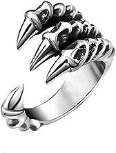Clocolor Anillo de acero inoxidable de garra de dragón para hombre estilo punk de diseño