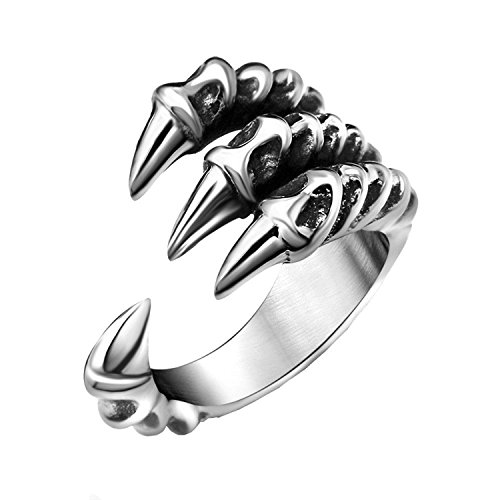 CLOCOLOR Stainless Steel Dragon Claw Rings for Men Cool Punk Design S