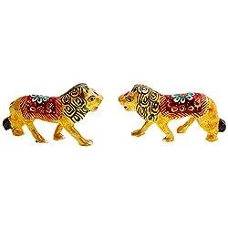 Handicrafts Gift House Valentine Gifts New Home Decor Enamel Work Pure Brass Lion Pair Gift Handicraft