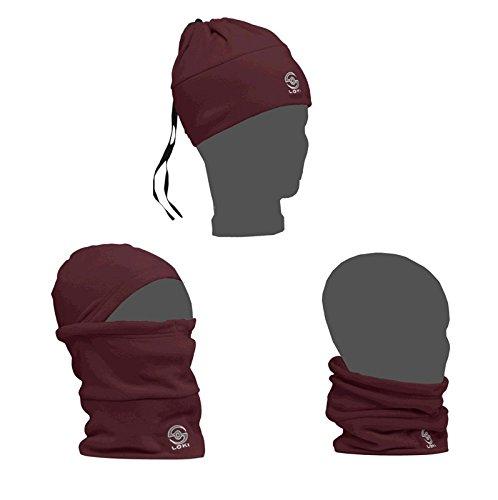 LOKI ALL-N-ONE - Sombrero de forro polar para hombre y mujer, color rojo