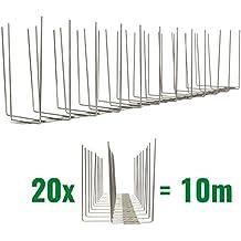 10 metri Dissuasori di picchi anti-piccione V2A-Titan con base di acciaio inossidabile - 3-striscia di Picchi antipiccione la soluzione di qualità per il controllo di uccelli