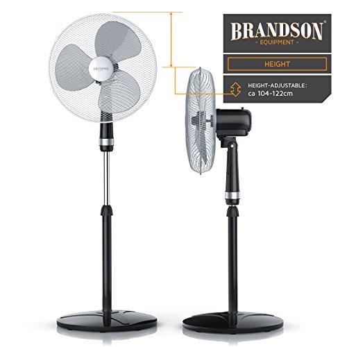 Oscilaci/ón Aprox Negro 50 W Brandson 40cm Ventilador de pie Modelo 2019 Flujo de Aire Elevado 85/° 3 Niveles de Potencia