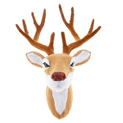 YuanYu Decoración de la Pared - Modelo de Cabeza de Ciervo de Peluche Realista, Animal de Piel sintética Colgante de Pared Decoración Adorno para Fiesta de Navidad decoración de Pared