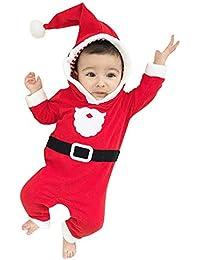 Internet 2 PCs Bébé Garçon Filles Père Noël Déguisement Grenouillère Barboteuse + Casquette Cosplay Combinaison Pyjama Noël Ensemble …