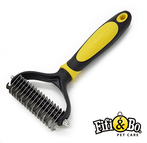 Fifi & Bo. PET CARE Best Professional Pet Grooming Undercoat Rake, Dematting Tool For Large, Medium & Small Dogs & Cats, Removes Loose Undercoat, Matts & Tangled Hair Within Minutes!