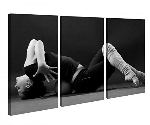 Leinwandbild 3 Tlg. Sport Tanzen Sexy Frau Fitness schwarz weiß Leinwand Bild Bilder Holz fertig gerahmt 9R848, 3 tlg BxH:120x80cm (3Stk 40x 80cm) (Sport-bilder Gerahmt)