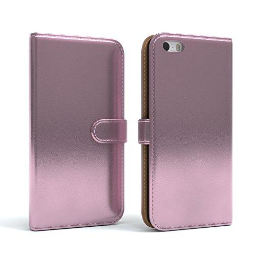 Apple iPhone SE / 5S / 5 Tasche, EAZY CASE Book-Style Case Metallic, Premium Handyhülle mit Kartenfach, Schutzhülle Geldbeutel mit Standfunktion, Wallet Case in Silber Metallic Metallic Rosa