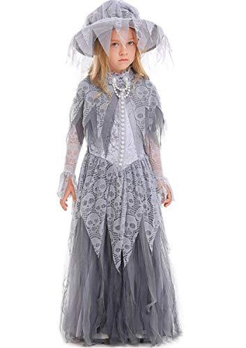 Kinder Mädchen Geisterbraut Kostüm für Halloween Karneval Fasching Kleid Costumes Verkleidung Outfit Erwachsen Party Kleider Zombiekostüm Horror Gothicbraut