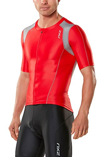 2XU 2017 Compression Sleeved Tri Top Flame Scarlet/Frost Grey MT4439A Sizes- - Medium