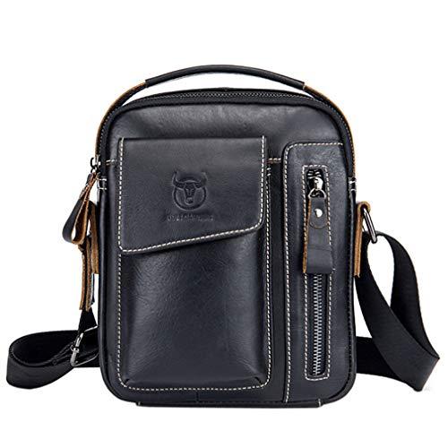Xieben Business Leder Crossbody Reisetasche Schulter Messenger Bag für Herren Frauen Casual Aktentasche Pack Tote Telefon Handtaschen Sling Brusttasche Schwarz -