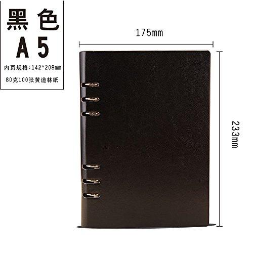 WRITIME Notizbuch A5 schwarz Benutzerdefinierte lose-Blatt Notebook Business Notebook Schreibwaren 6-Loch-Clip Notebook Tagebuch