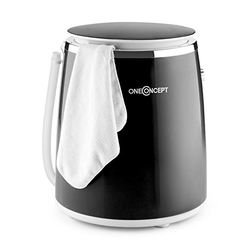 oneConcept Ecowash-Pico • Waschmaschine • Mini-Waschmaschine • Camping-Waschmaschine • Toploader • mit Schleuder-Funktion • für 3,5 kg Wäsche • 380 Watt • energie-und wassersparend • Timer • einfache Bedienung • Kabelaufwicklung • Tragegriff • schwarz