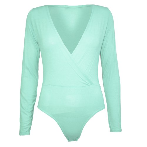 Damen Body Überkreuz Gewickleter Tiefer Aisschnitt Einfarbig Volle Ärmel Body Top Turquoise - Gather Slim Fitted Jersey Deep V Neck