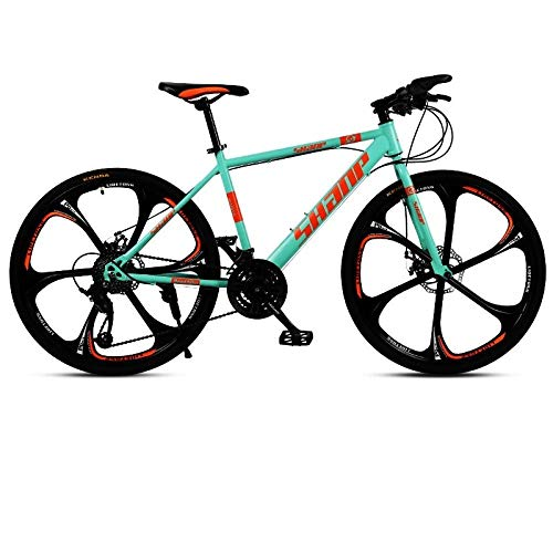 Mountain Bike Adult Shock one-Wheel Off-Road Gear Shift Male and Female Students urban Cycling [six Knives] 24 Speed 26 inches-Six Knives / Green_30 Speed / 26 inch