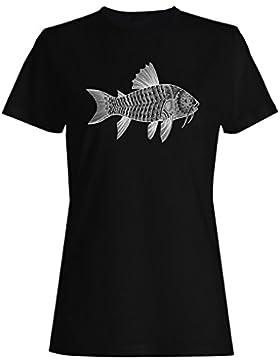Fondo de pescado dibujado a mano camiseta de las mujeres g637f
