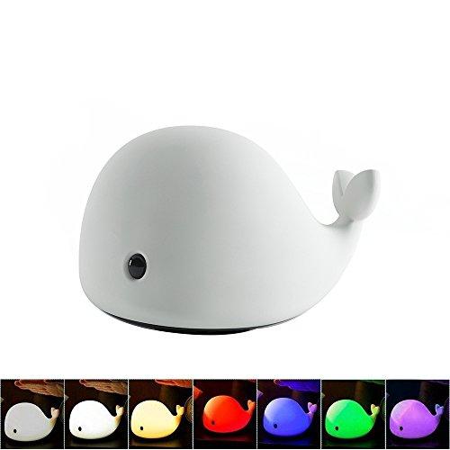 Umiwe Silikon Nachtlicht,Wiederaufladbare netter Delphin-Lampen-empfindlicher Hahn-Steuerung 7 einzelne Farbe mit USB wieder aufladbar für Baby-Kleinkind-Kindertagesstätten-Kind-Kind-Mädchen-und Schla
