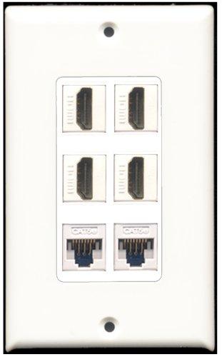 RiteAV-4Port HDMI 2Port Cat5e Ethernet weiß Wall Plate Dekorative 6 Port Flush