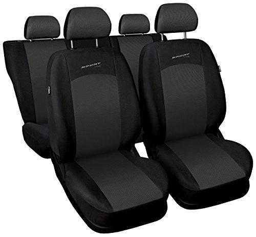 Carpendo Sitzbezüge Auto Set Autositzbezüge Schonbezüge Schwarz-Grau Vordersitze und Rücksitze mit Airbag System - Sportline