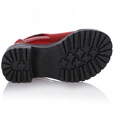 GLL&xuezi Da donna Stivaletti Comoda PU (Poliuretano) Autunno Inverno Casual Comoda Quadrato Nero Rosso 5 - 7 cm black