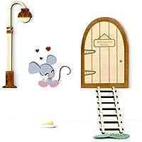 Kit ratoncito Pérez de Vinilo, con quesito, plato, alfombra+Puerta mágica, farola y escalera de madera para pintar y personalizar