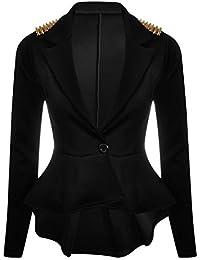 LOOK&SMART Blazer veste avec épaule clouté et manches longues - Vestes - Femmes (44, Noir)
