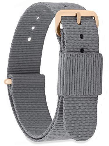 MOMENTO Damen Herren NATO Nylon Ersatz Uhren-Armband mit Edelstahl-Schliesse in Rose-Gold und Nylon-Armband in Grau 16mm Grau Rose