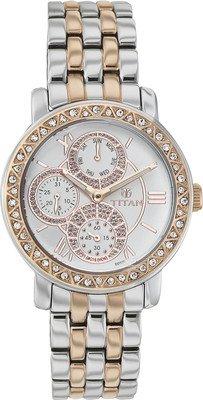 Titan Women's Purple Glam Gold Analog White Dial Watch