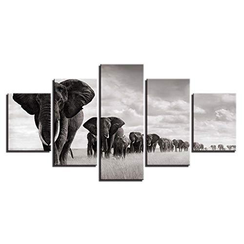 SHENGPAINHD Wall Art Framework Lienzo Fotos Moderno 5 Panel Elefantes Paisaje Posters...