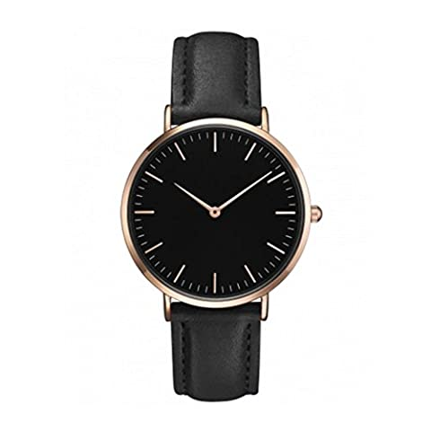 Montre Ihee pour femme et homme, design tendance, décontracté, simple en acier inoxydable, montre analogique à quartz, bracelet de montre M noir